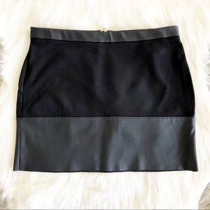 Express Black Vegan Leather Raw Hem Mini Skirt
